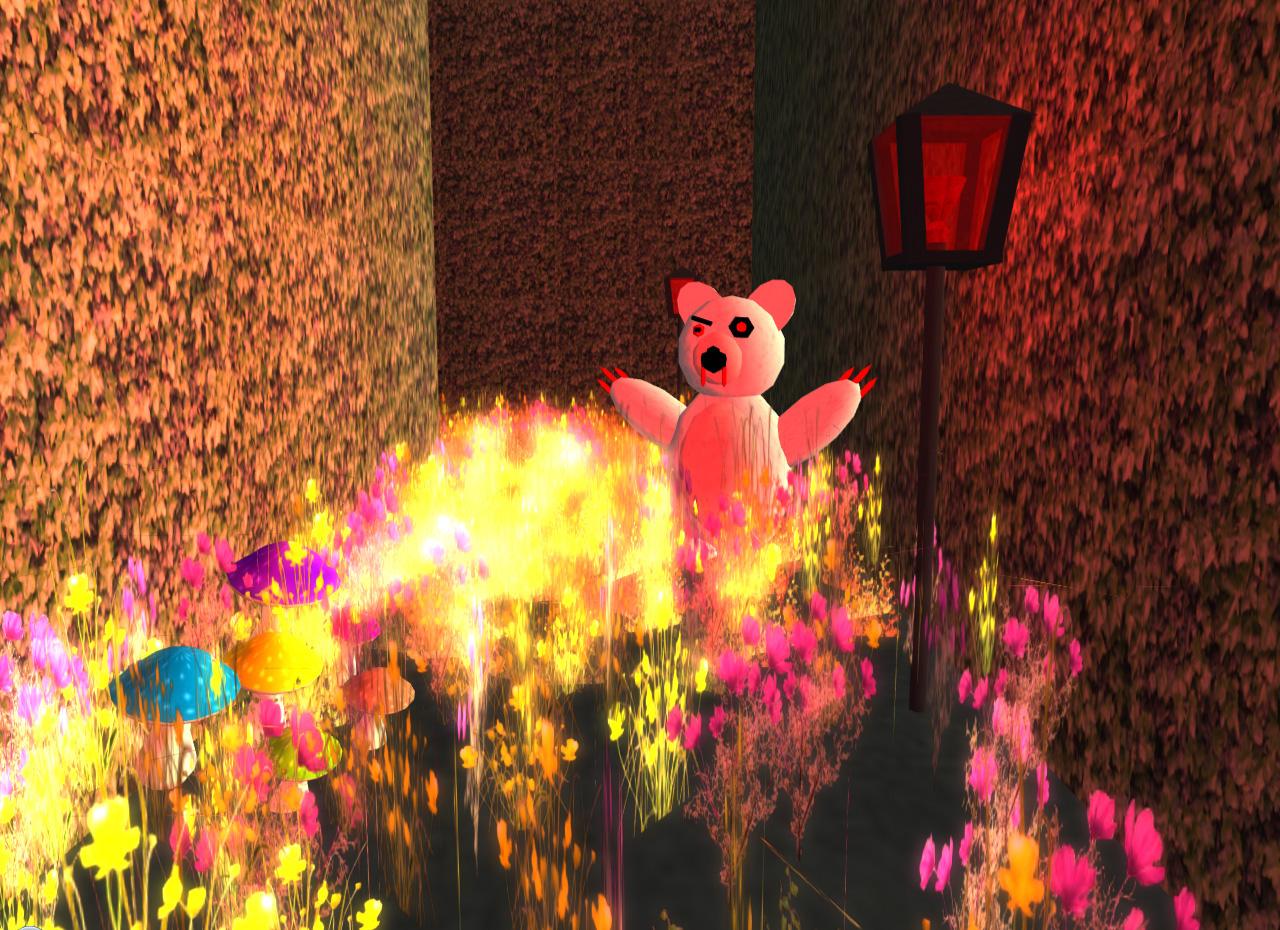 Schillernde, grell leuchtende Farben und blutrünstige Teddybären verfolgen den Nutzer im Drogenrausch.