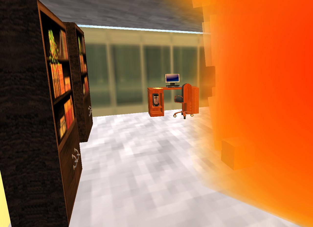 Das Büro steht in Flammen - jetzt müssen alle Mitarbeiter schnellstmöglich ins Freie gebracht werden.