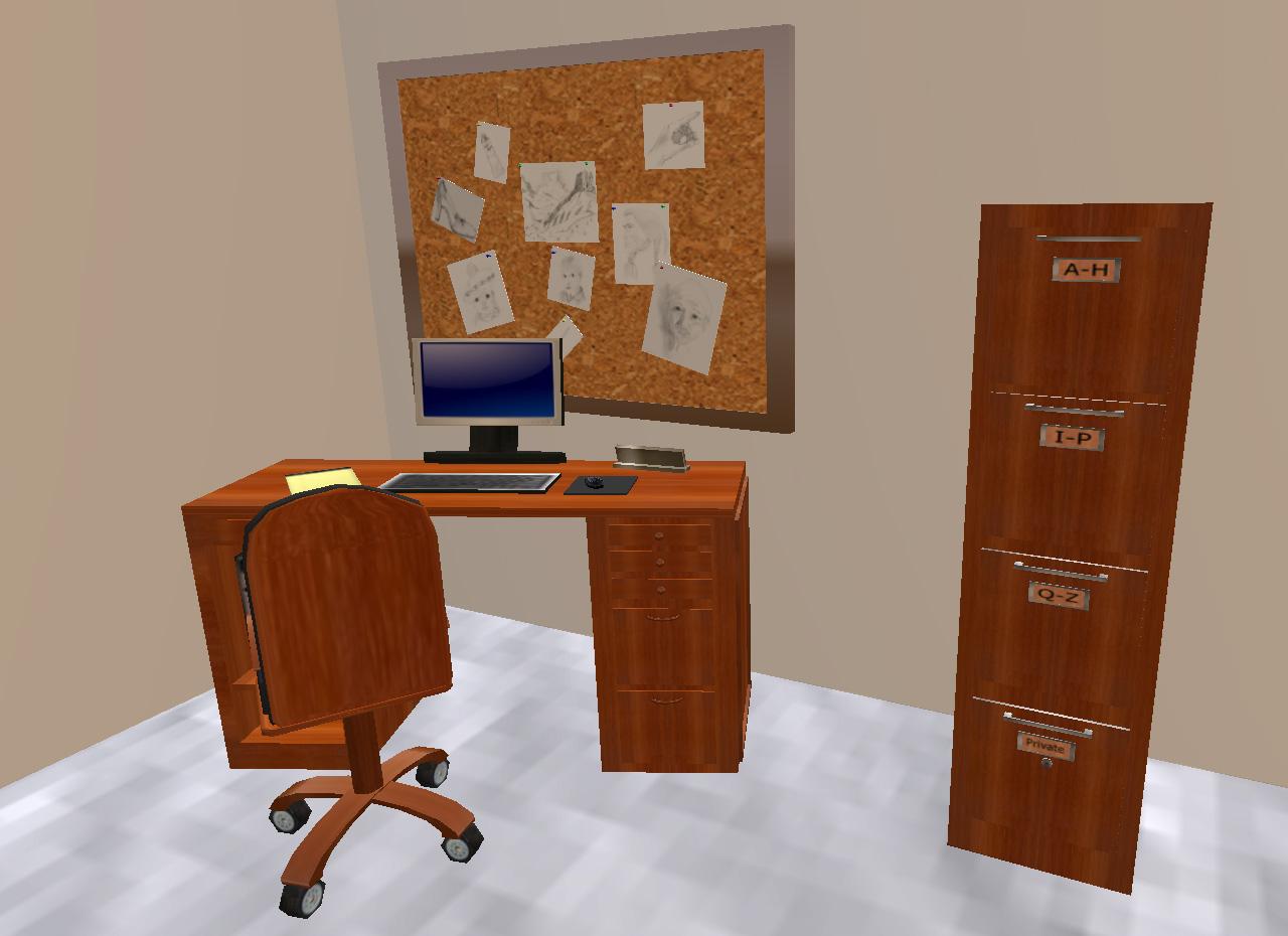 Ein Arbeitsplatz im virtuellen Bürogebäude.